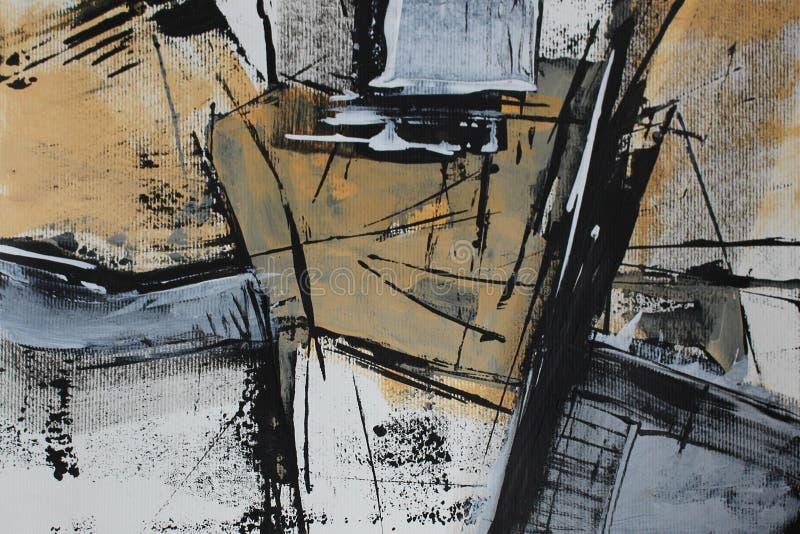 Abstraction blanche noire avec la peinture acrylique illustration libre de droits