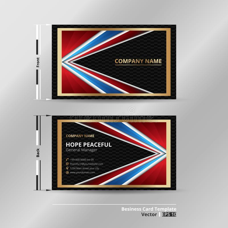 Abstraction business card of luxury golden blue red black color. Presenting with high technology dark background. royalty free illustration