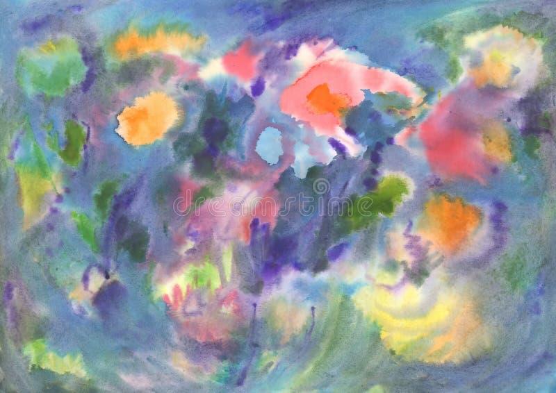Abstraction d'aquarelle, fleurs vives Peinture abstraite photo stock