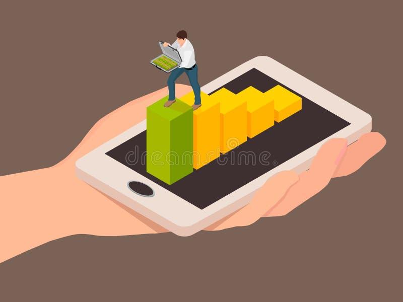 Abstraction de transaction d'argent utilisant un smartphone illustration de vecteur