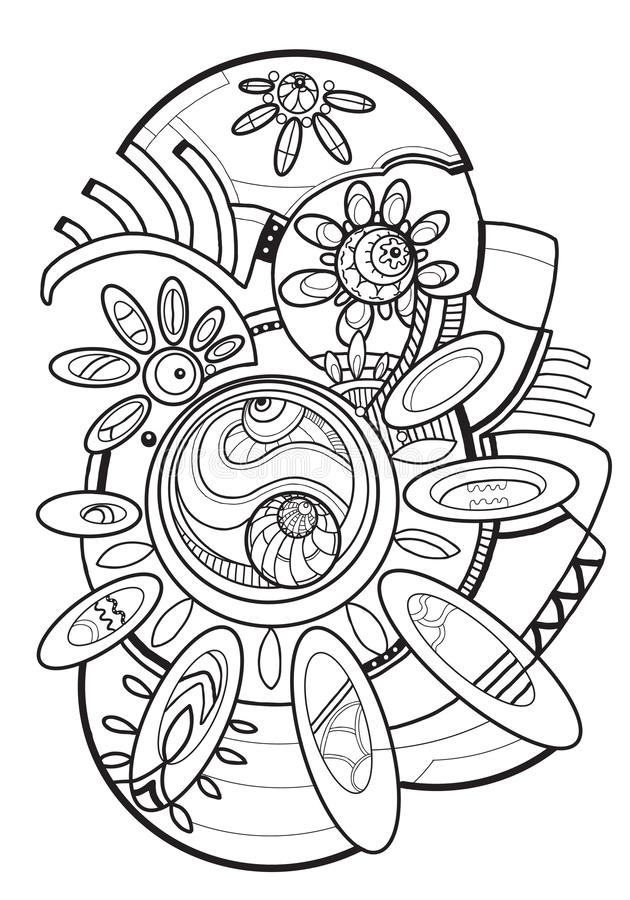 Abstraction. Drawing line art style. Coloring for adults. Black line on white background.Abstraction. Drawing line art style. Coloring for adults vector illustration