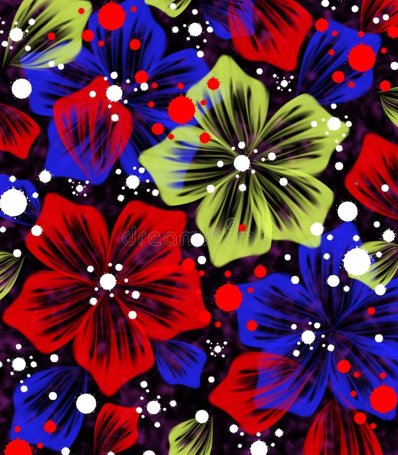Abstraction of Flowers and Blots on a Dark Background. vector illustration