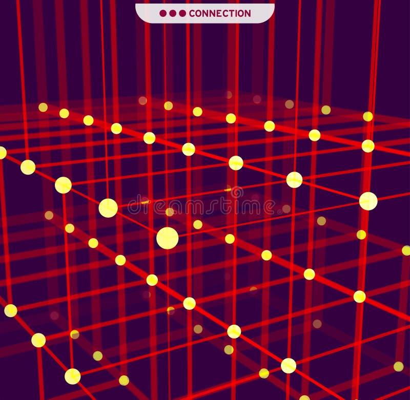 Abstraction géométrique de Digital avec des lignes et des points Fond futuriste abstrait illustration stock