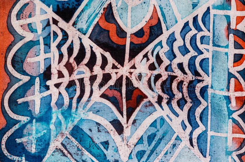 Abstraction, hot batik, background texture, handmade on silk, abstract surrealism art stock photography