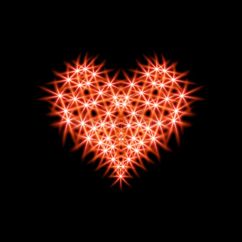 Abstraction icon heart made of red stars. For dark backgrounds smoldering night fire with red coals. Design elements for stock illustration