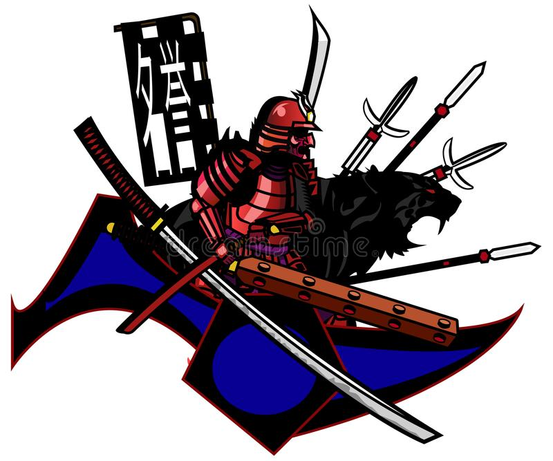 Abstraction. samurai and tiger prepared for battle royalty free stock photos