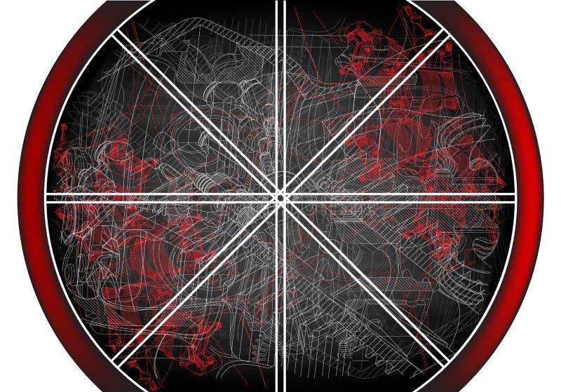 Abstraction noire et rouge Beaucoup de lignes images libres de droits