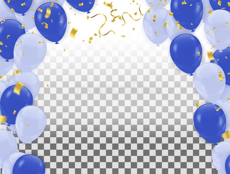 Abstraction with Realistic Balloons Light Blue and Blue . Vector royalty free illustration