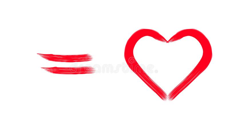 Abstraction. Red heart on a white background. stock photo