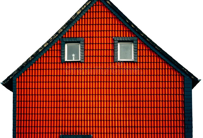 Abstraction red house facade stock images