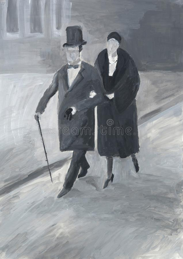 Lady and gentleman on the promenade. Elderly couple walking down the street. London style. City life scene. Cold weather. royalty free illustration
