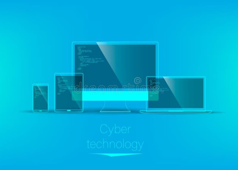 Abstraction, technologie futuriste Placez de la technologie transparente illustration stock