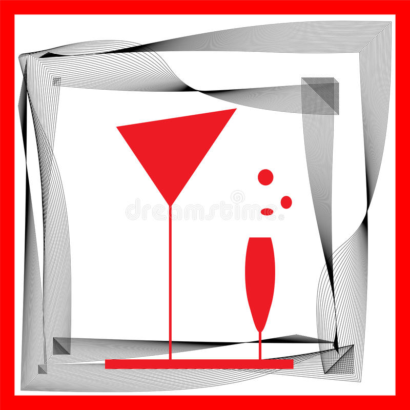 Download Abstraction Wineglass And Black Red Lines Stock Vector - Image: 22998911
