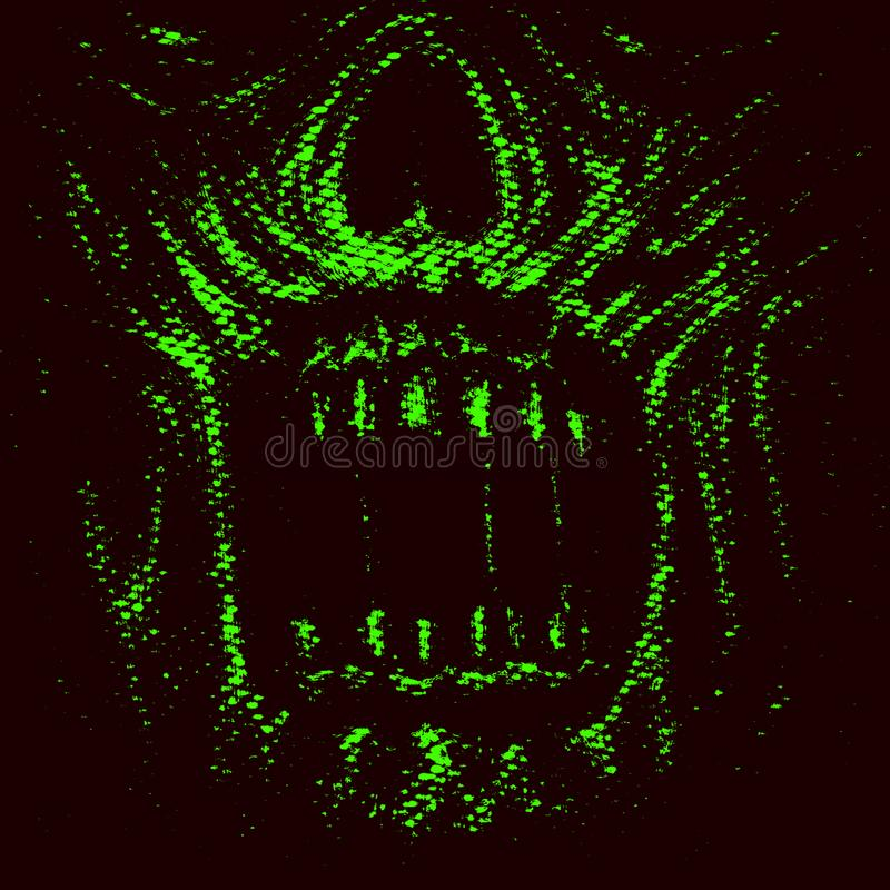 Abstraction zombie face. Green color vector illustration