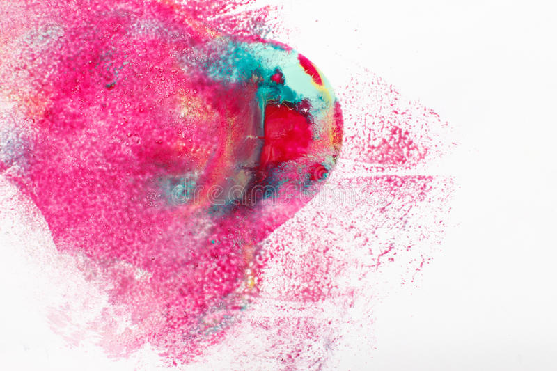 Abstractionism, creativity, modern art, color mix. Abstract colorful painting, creative modern art, mix of magenta, cyan and yellow colors on white background stock photos