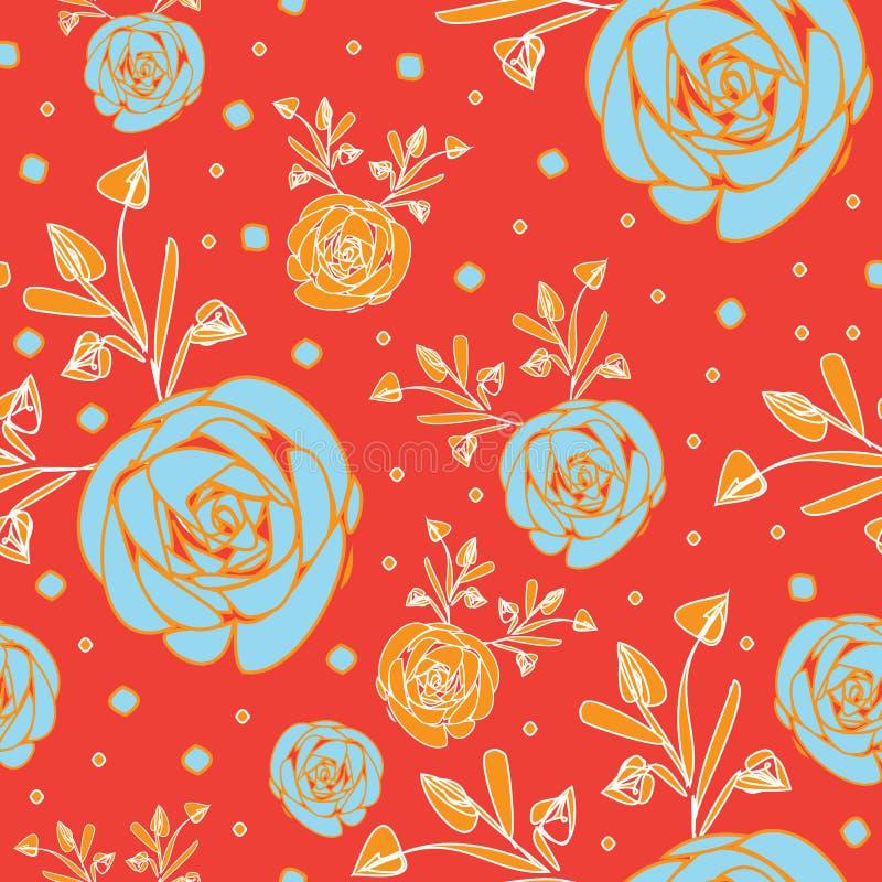 Abstracto-flores de las rosas en fondo inconsútil del modelo de la repetición de la floración en anaranjado y azul stock de ilustración