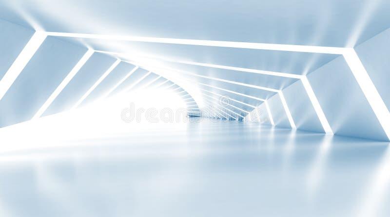 Abstracto vacie el pasillo brillante azul claro iluminado, 3d libre illustration