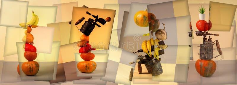 Abstraia ainda a colagem da vida com vegetais, frutos e maçarico ilustração stock