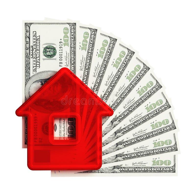 Abstraia a casa com um cem-dólar ilustração do vetor