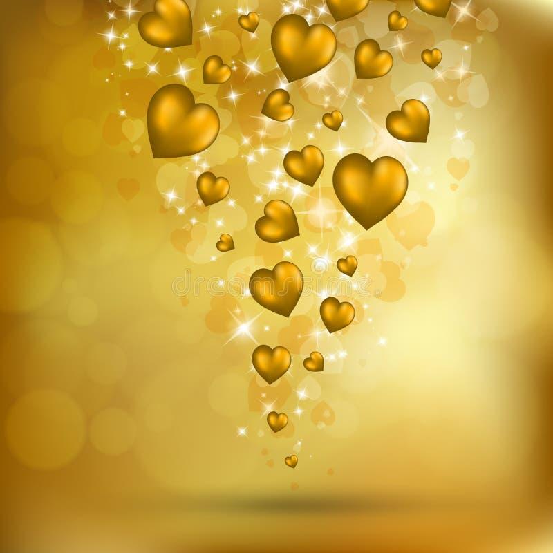 Abstraia corações dourados do vôo ilustração do vetor