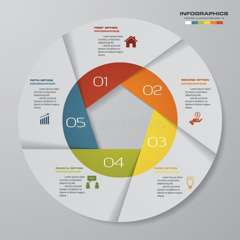 Abstraia 5 elementos modernos do infographics da carta de torta das etapas ilustração stock