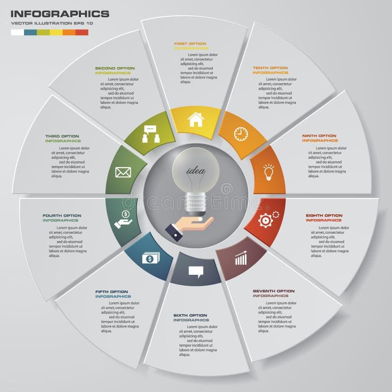 Abstraia 10 elementos modernos do infographics da carta de torta das etapas Ilustração do vetor ilustração do vetor