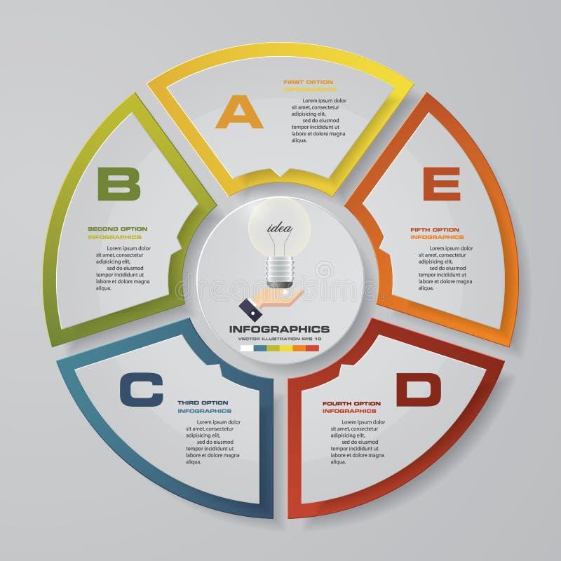 Abstraia 5 elementos modernos do infographics da carta de torta das etapas Ilustração do vetor ilustração do vetor
