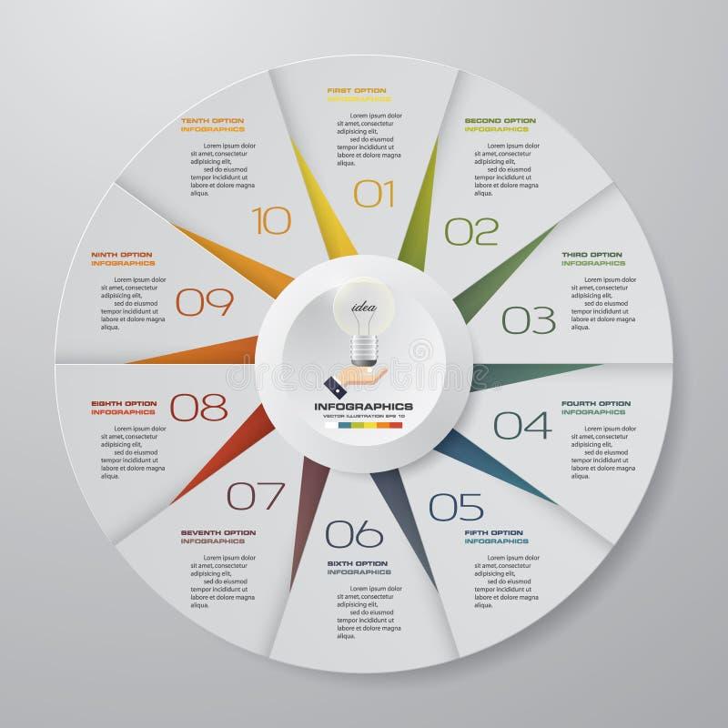 Abstraia 10 elementos modernos do infographics da carta de torta das etapas Ilustração do vetor ilustração royalty free