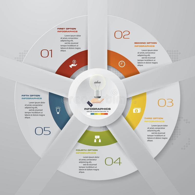 Abstraia 6 elementos modernos do infographics da carta de torta das etapas Ilustração do vetor ilustração stock