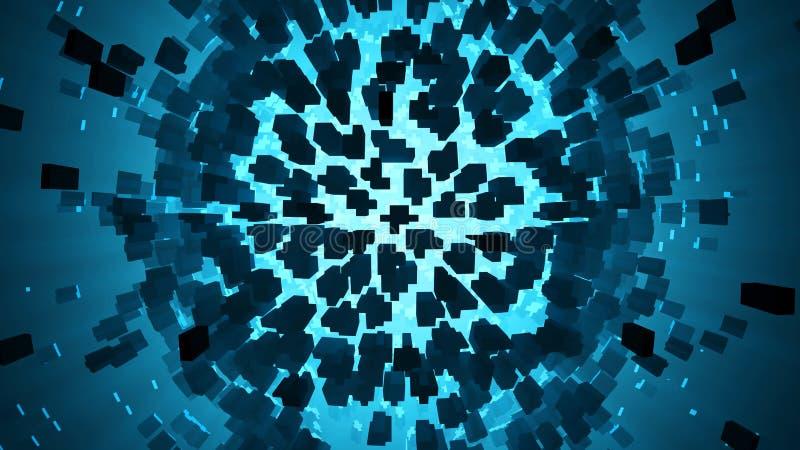 Abstraia a esfera da explosão com luz azul ilustração royalty free