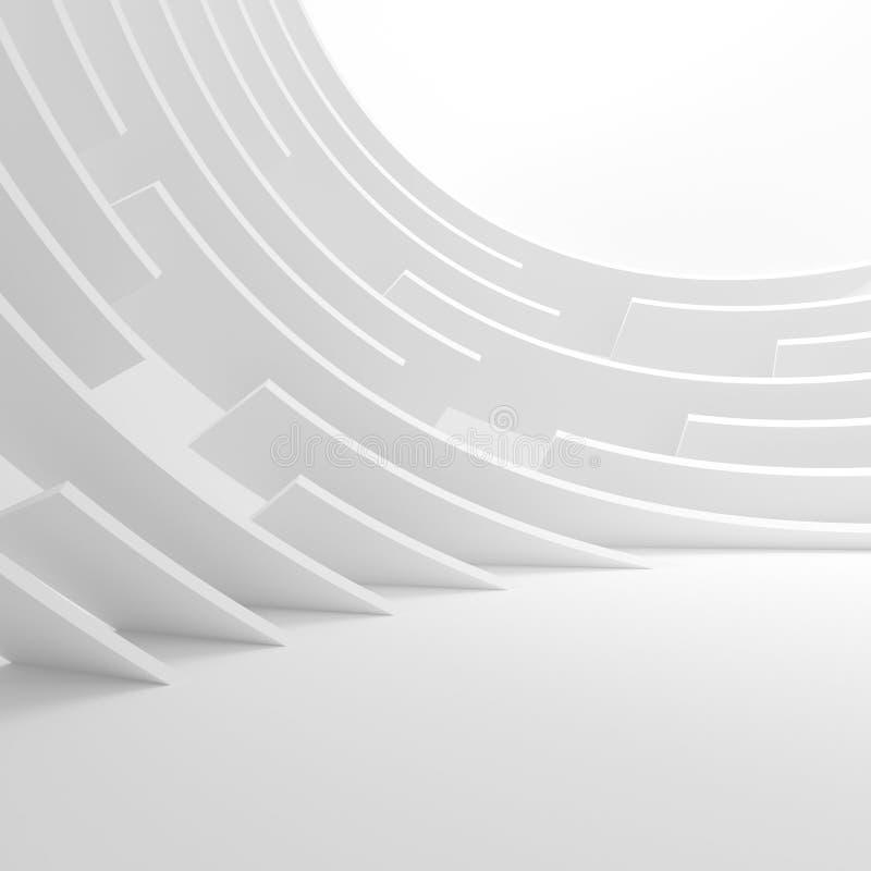 Abstraia o fundo da arquitetura ilustração 3d de Circu branco ilustração royalty free