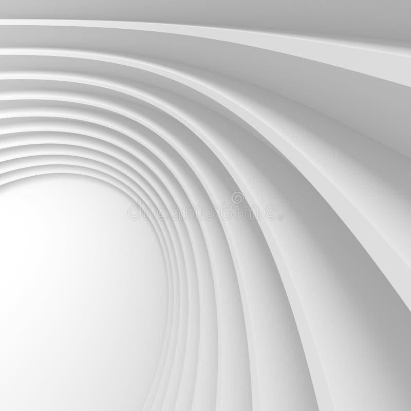 Abstraia o fundo da arquitetura rendição 3d da circular branca ilustração royalty free