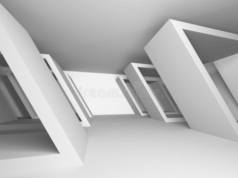 Abstraia o fundo da arquitetura Sala futurista branca vazia ilustração royalty free
