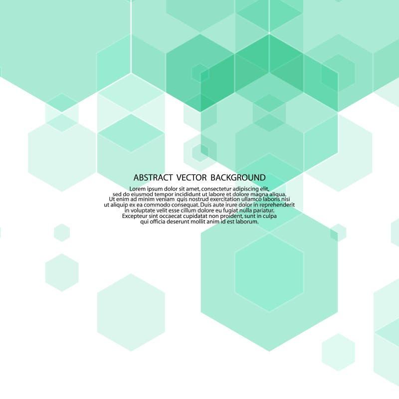 abstraia o fundo disposição para anunciar hexágonos verdes ilustração do vetor
