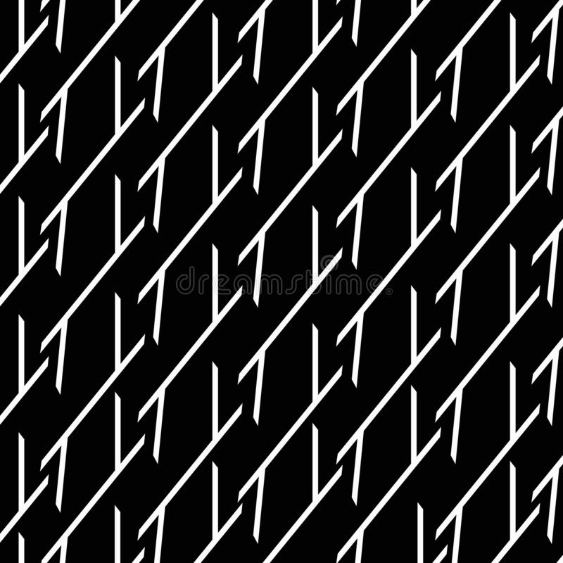 abstraia o fundo Linhas quebradas brancas em um fundo preto ilustração stock