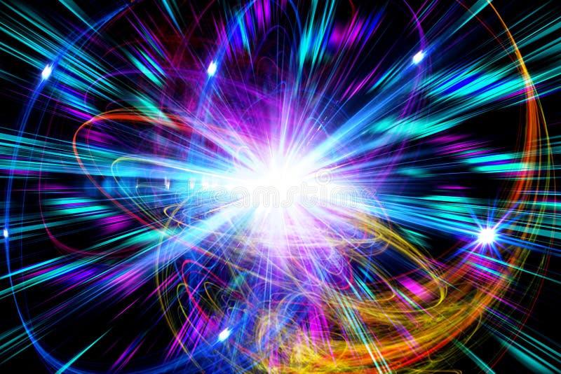 Abstraia o fundo multi-colorido, efeito da luz, raios, brilho ilustração royalty free