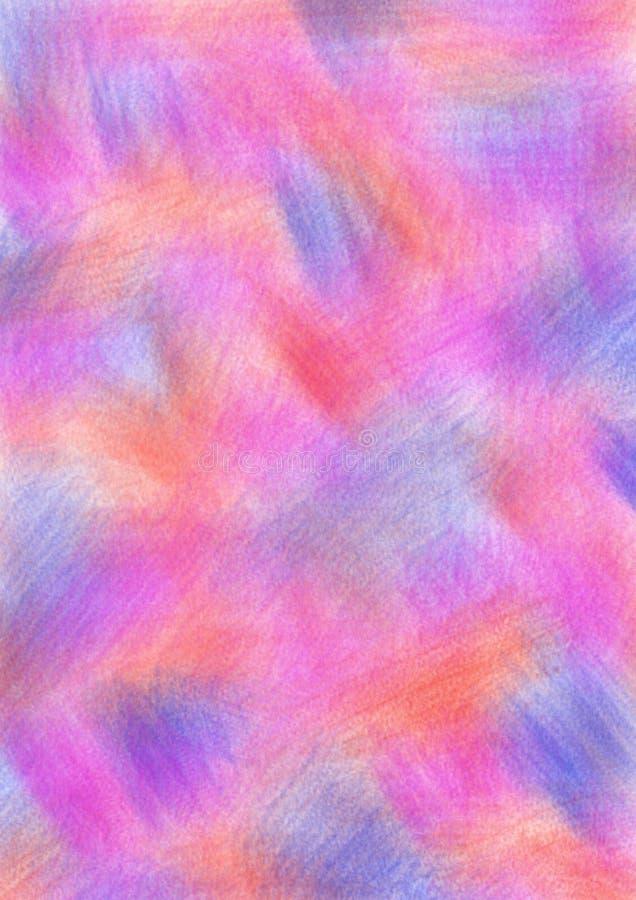 Abstraia o fundo textured tirado com pinceladas em cores vermelhas, cor-de-rosa e azuis Formato do tamanho A4 ilustração stock
