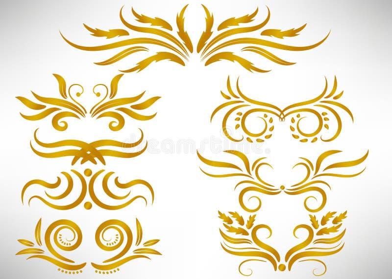 Abstraia o grupo de elemento encaracolado do projeto do ouro isolado no fundo branco ilustração stock