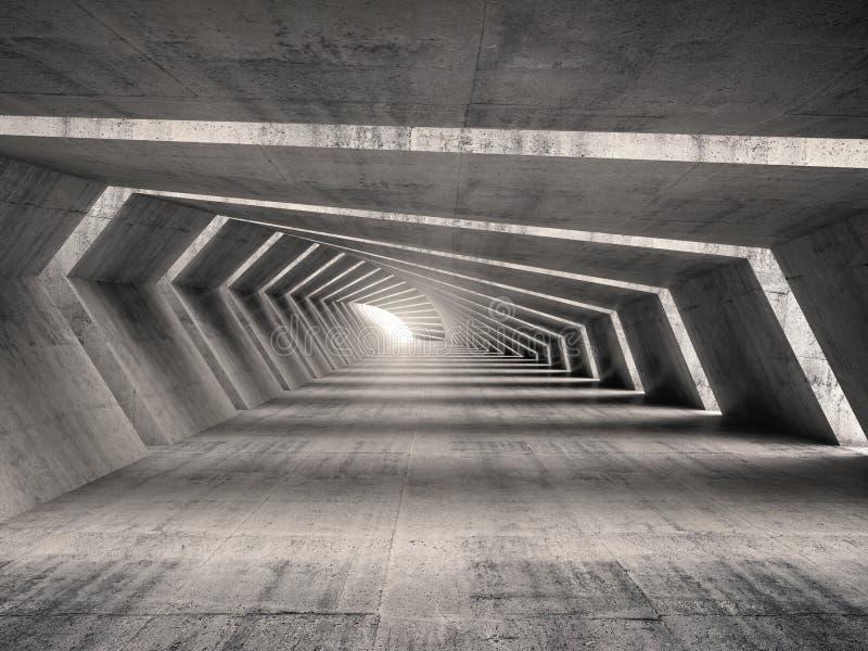 Abstraia o interior concreto curvado vazio iluminado do corredor 3d ilustração do vetor