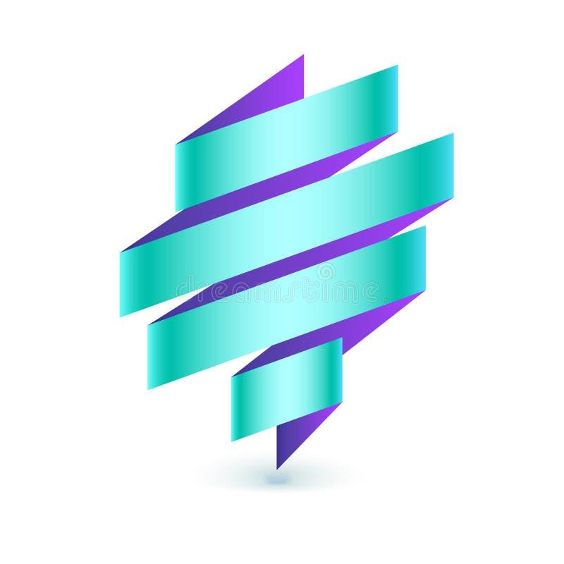 Abstraia o logotipo curvado, listras coloridas isoladas no backgroound branco Sinal dobrado da fita, composição expressivo, 3D ilustração do vetor