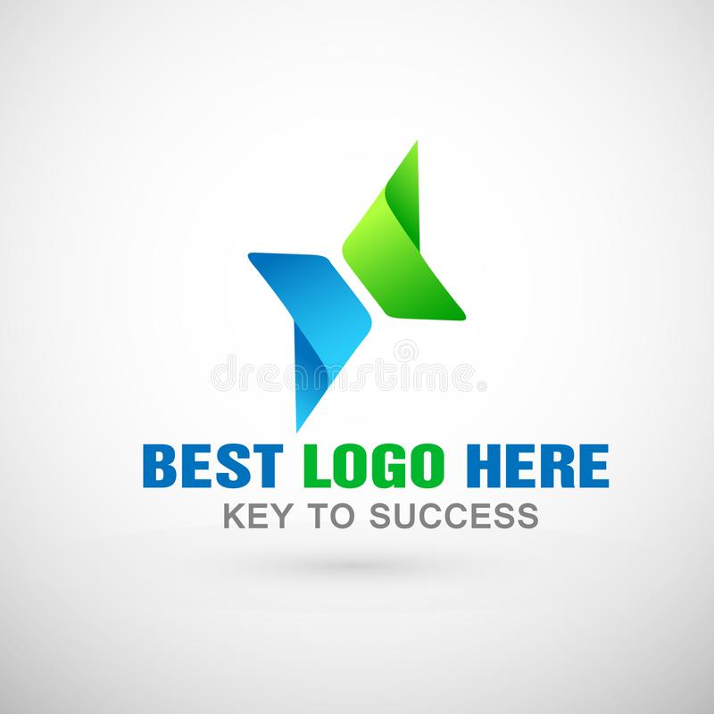 Abstraia o logotipo focalizado dois sentidos, sucesso em incorporado investem o projeto do logotipo do negócio Logotipo do invest ilustração do vetor