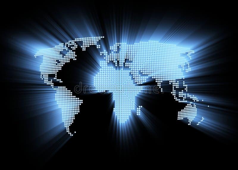 Abstraia o mapa de mundo alta tecnologia de incandescência ilustração stock