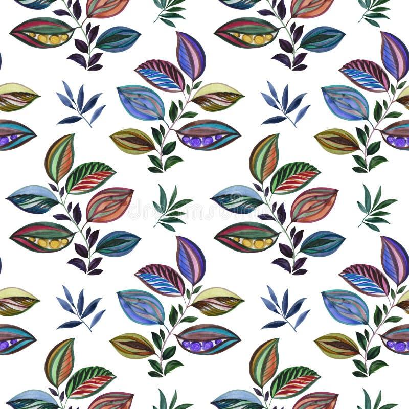 Abstraia o ornamento Ilustra??o colorida Desenho da aquarela das folhas de cores diferentes Folhas e ramos para o projeto ilustração stock