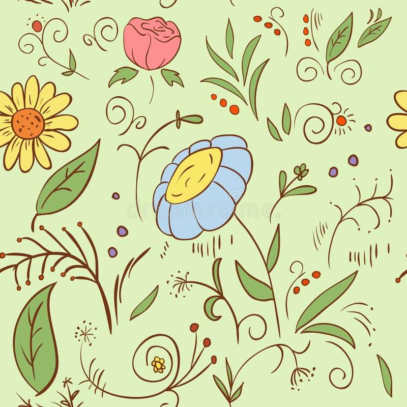 Abstraia o teste padrão de flor sem emenda da tração da mão ilustração do vetor