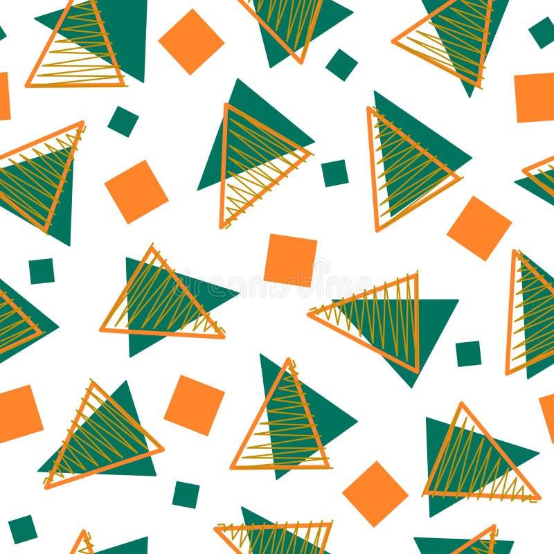 Abstraia o teste padrão do estilo de memphis de três cores ilustração do vetor