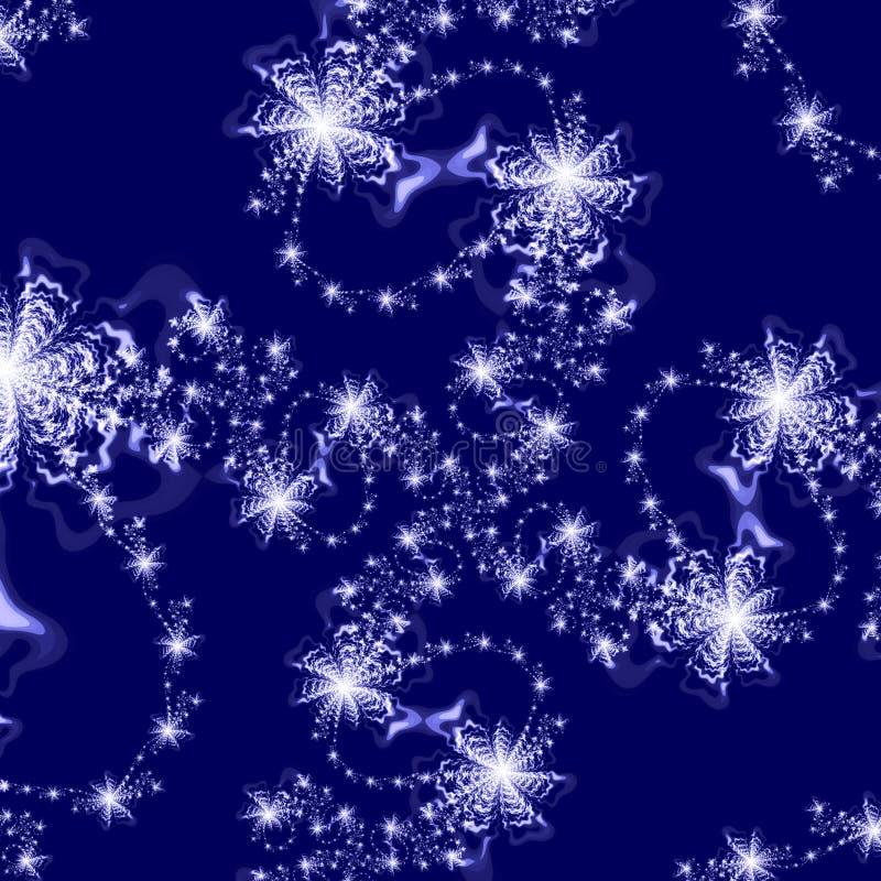 Abstraia o teste padrão do fundo das estrelas de prata na obscuridade - fundo azul ilustração stock