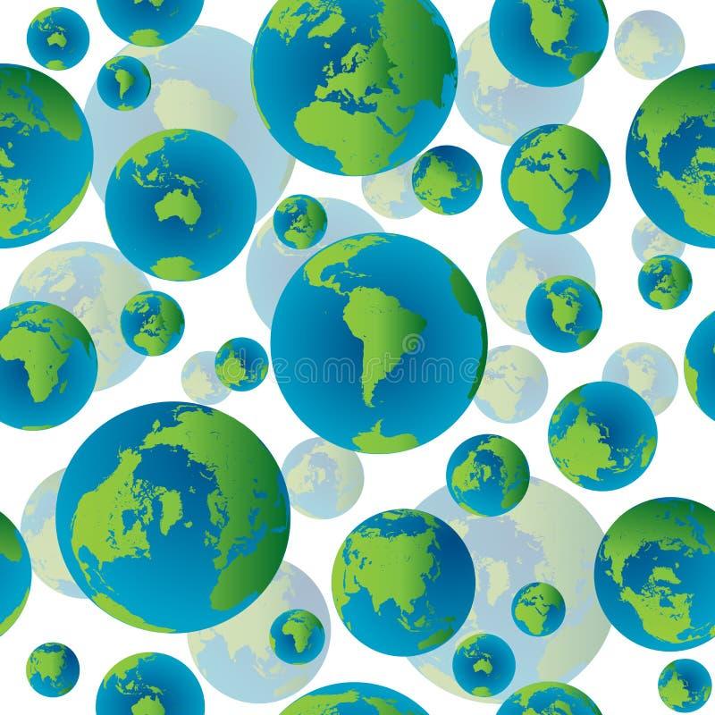 Abstraia o teste padrão sem emenda com globos da terra ilustração royalty free