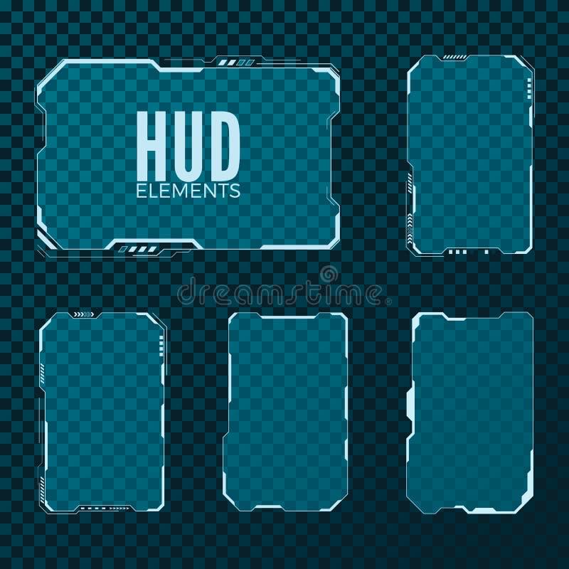 Abstraia olá! a disposição de projeto futurista do molde do fi do sci da tecnologia Grupo de elemento de HUD Ilustração do vetor ilustração royalty free