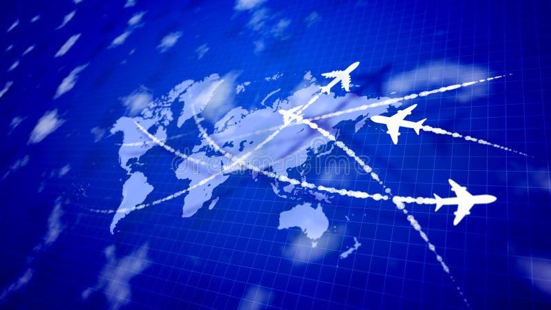 Abstraia quatro aviões que conectam os países ilustração do vetor