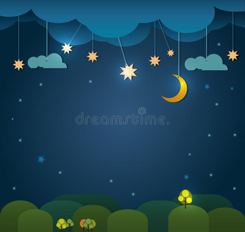 Abstraiga el corte del papel Esté en la luna con las estrellas, cielo de la nube en el fondo de la noche Espacio en blanco para s stock de ilustración